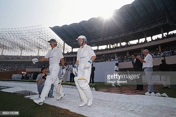 South African batsmen Jimmy Cook and Andrew Hudson step out to open the batting watched by Dr Ali Bacher at the 1st ODI between India and South...