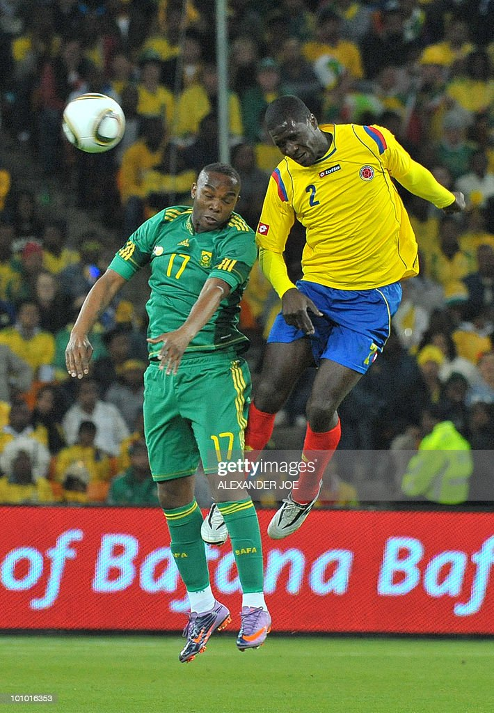 South African Benedict McCarthy tries to head a ball away from Colombia's Cristian Zapata during a friendly football match between South Africa vs Colombia at Soccer City Stadium in Soweto on May 27 , 2010 ahead of the FIFA 2010 World Cup in South Africa.