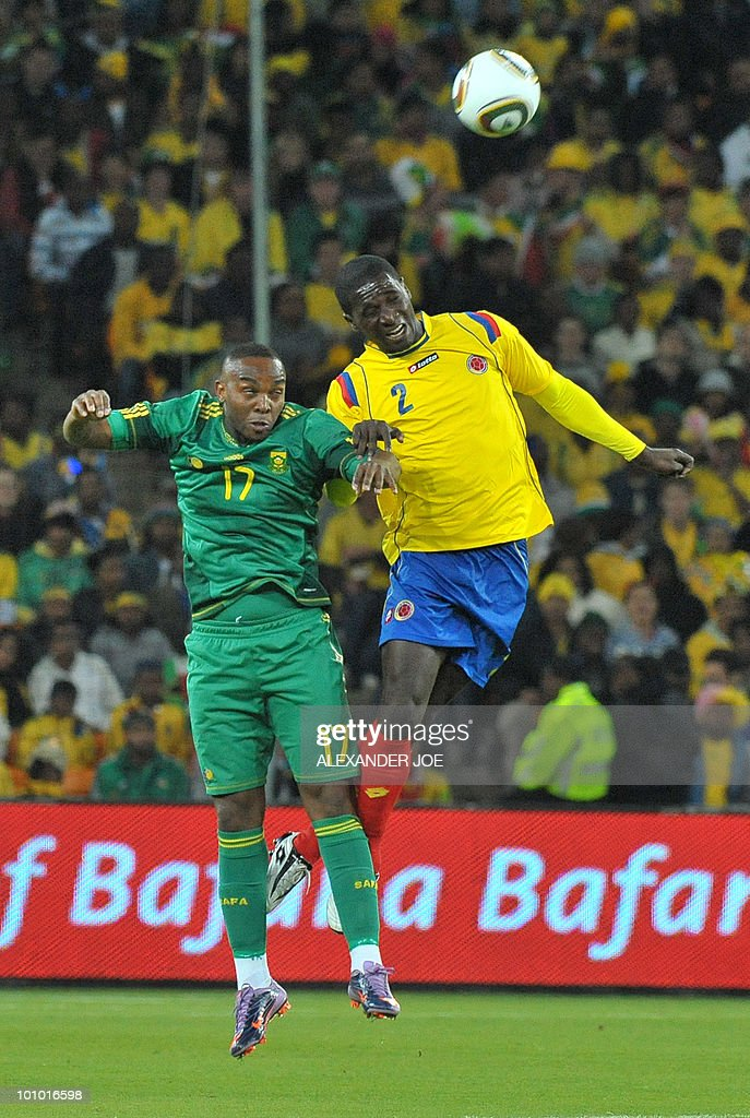 South African Benedict McCarthy tries to head a ball away from Colombia's Cristian Zapata during a friendly football match between South Africa vs Colombia at Soccer City Stadium in Soweto on May 27 , 2010 ahaed of the FIFA 2010 World Cup in South Africa.