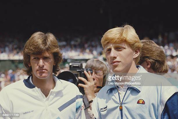 South African born American tennis player Kevin Curren pictured left with German tennis player Boris Becker before their final match in the Men's...