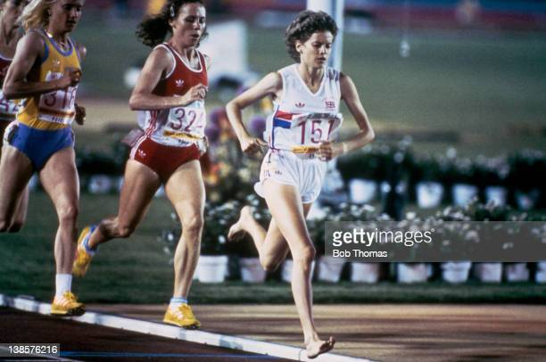 South African born athlete Zola Budd of Great Britain leads Cornelia Burki of Switzerland and Maricica Puica of Romania during heat 3 of the Women's...