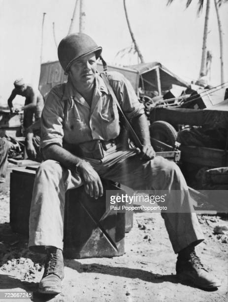 South African born British actor Louis Hayward pictured in service as a Captain with the United States Marine Corps photographic unit on the Island...