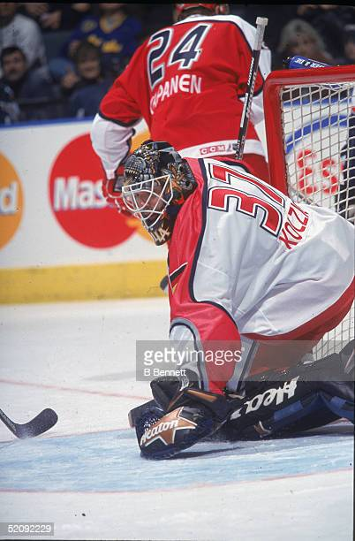 South African born German professional hockey player Olaf Kolzig as the goalie of the World All Star team at the 2000 NHL All Star Game Air Canada...