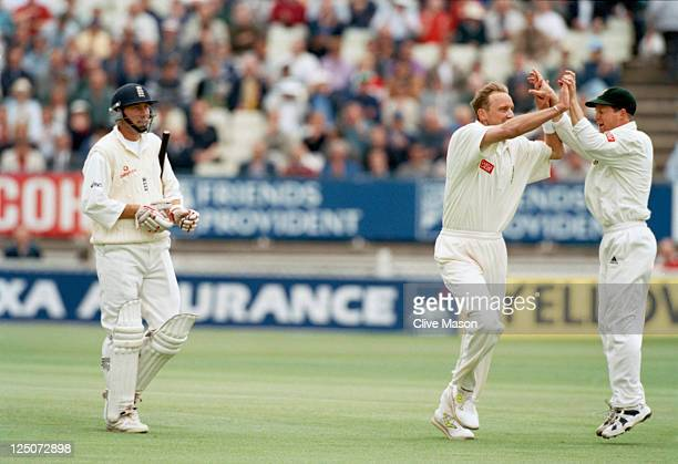 South African bowler Allan Donald takes the wicket of England batsman Mike Atherton during the 1st Test between England and South Africa at Edgbaston...