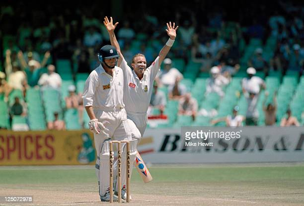South African bowler Allan Donald takes the wicket of English batsman Mike Atherton during the Third Test between England and South Africa at...