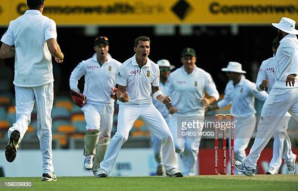 South African bowler Dale Steyn celebrates after taking the wicket of Australia's Dave Warner on day three of the first cricket Test between South...