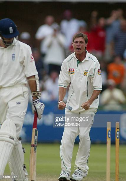 South African bowler Dale Steyn celebrates the wicket of England captain Michael Vaughan for 15 at Saint-George's Park cricket stadium in Port...