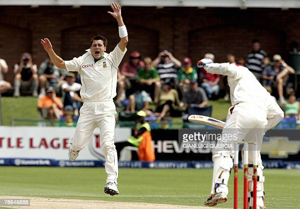 South African bowler Dale Steyn unsuccesfully appeals 26 December 2007 for a LBW against West Indies batsman Daren Ganga on the first day of the Test...
