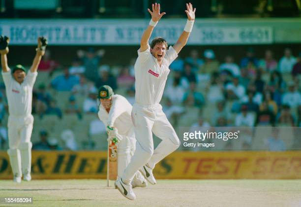 South African bowler Fanie de Villiers celebrates taking the wicket of Tim May during the 2nd Test against Australia at Sydney Cricket Ground Sydney...