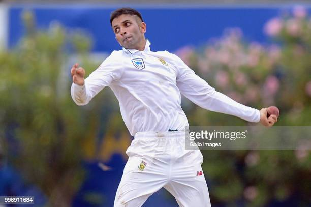 South African bowler Keshav Maharaj bowling during day 1 of the 1st Test match between Sri Lanka and South Africa at Galle International Stadium on...