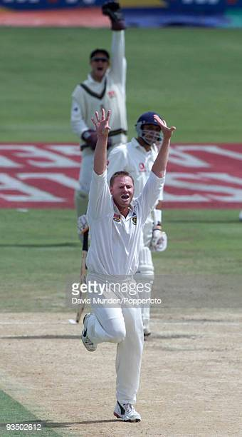 South African bowler Lance Klusener appeals and England batsman Mark Butcher is out LBW for 36 on the fifth day of the 5th Test match between South...