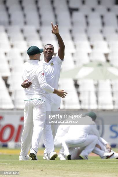 South African bowler Lungi Ngidi celebrates the dismissal Indian batsman and Captain Virat Kohli during the first day of the third cricket Test match...