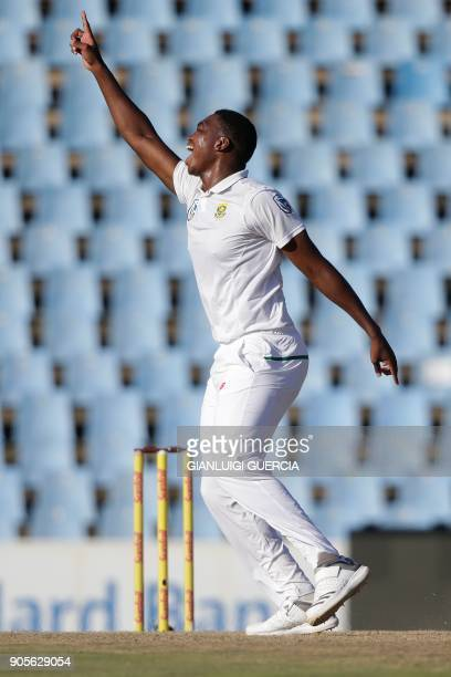 South African bowler Lungi Ngidi celebrates the dismissal of Indian batsman and Captain Virat Kohli during the fourth day of the second Test cricket...