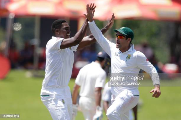 South African bowler Lungi Ngidi celebrates the dismissal of Indian batsman Hardik Pandya during the fifth day of the second Test cricket match...