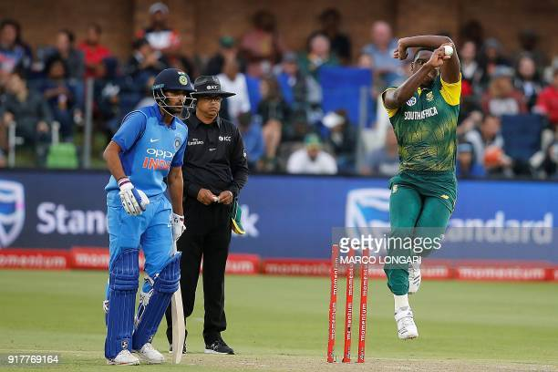 South African bowler Lungi Ngidi delivers during the fifth One Day International cricket match between South Africa and India at St George Park in...