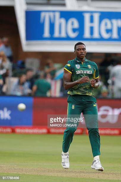 South African bowler Lungi Ngidi looks on during the fifth One Day International cricket match between South Africa and India at St George Park in...
