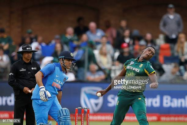 South African bowler Lungi Ngidi prepares to deliverduring the fifth One Day International cricket match between South Africa and India at St George...