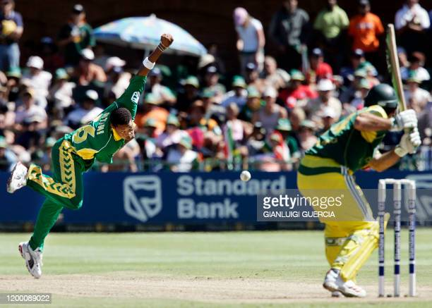 South African bowler Makhaya Ntini bowls, 05 March 2005, to Australian batsman Ricky Ponting during the 3rd ODI at St George's cricket stadium in...