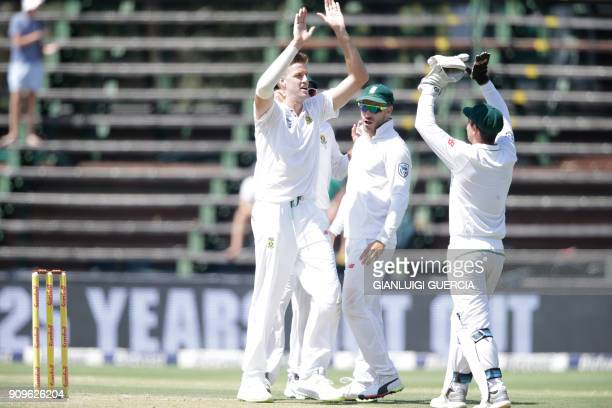South African bowler Morne Morkel celebrates the dismissal Indian batsman Ajinkya Rahane during the first day of the third test match between South...