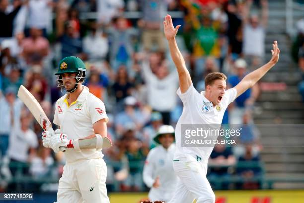 South African bowler Morne Morkel celebrates the dismissal of Australian batsman Pat Cummins during the fourth day of the third Test cricket match...