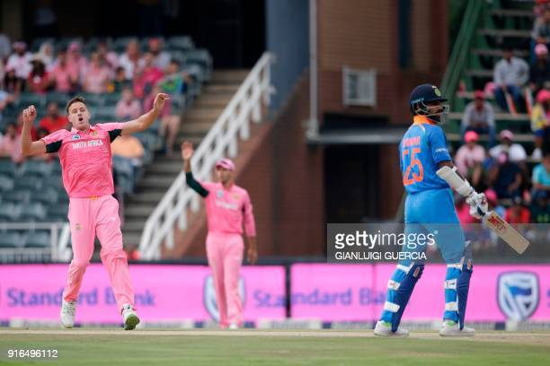 South African bowler Morne Morkel reacts after bowling on Indian batsman Shikhar Dhawan during the fourth One Day International cricket match between...