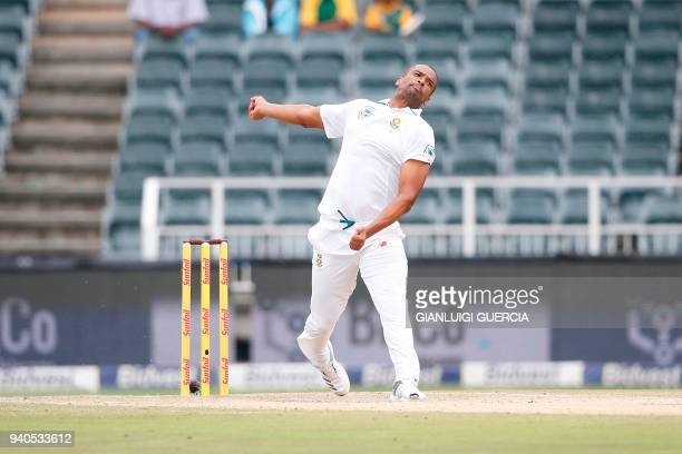 South African bowler Vernon Philander bowls on Australian batsman Tim Pain on the third day of the fourth Test cricket match between South Africa and...