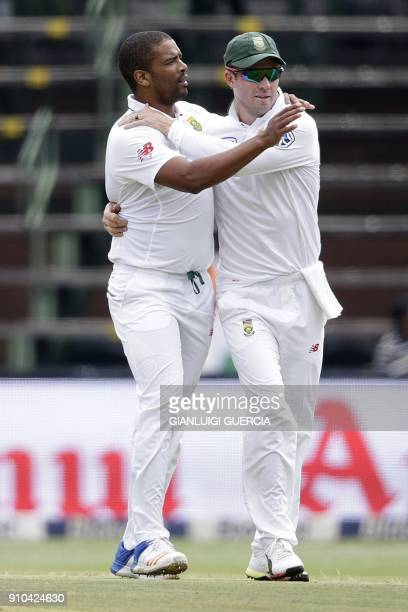 South African bowler Vernon Philander celebrates the dismissal of Indian Batsman Lokesh Rahul during the third day of the third test match between...