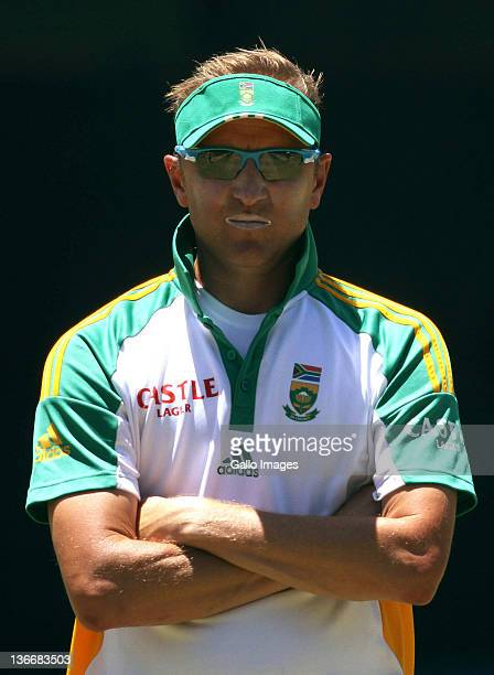 South African bowling coach Alan Donald during a South African nets session at Sahara Park Newlands on January 10 2012 in Cape Town South Africa