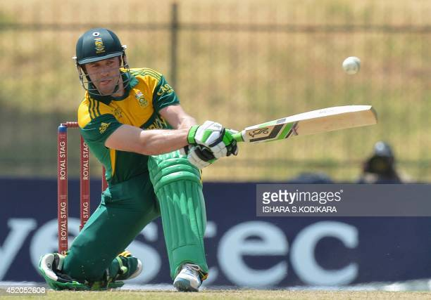 South African captain AB de Villiers plays a shot during the third and final One Day International cricket match between South Africa and Sri Lanka...