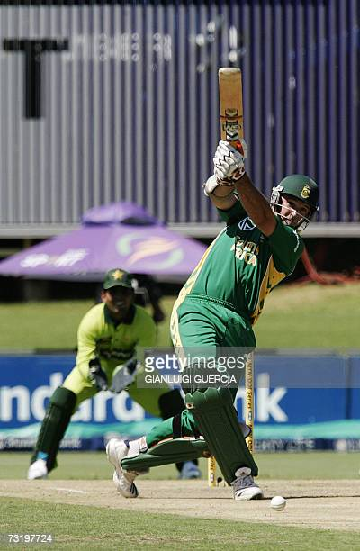 South AFrican captain and batsman Graeme Smith hits a 4 04 February 2007 during the first ODI match at Supersport park in Johannebsurg AFP...
