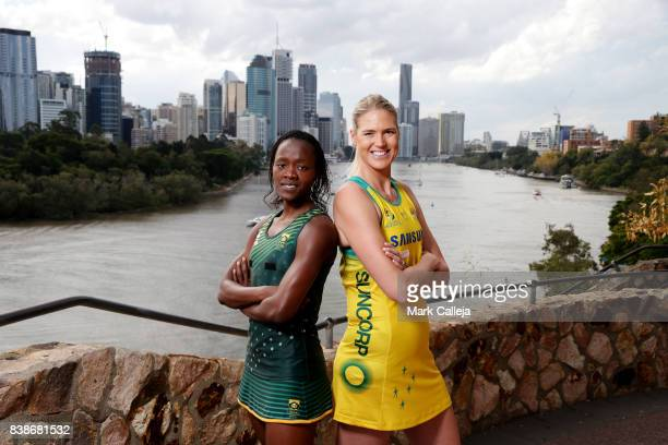 South African captain Bongiwe Msomi and Australian captain Caitlin Bassett pose during the Netball Quad Series Captain's Call at Kangaroo Cliffs...