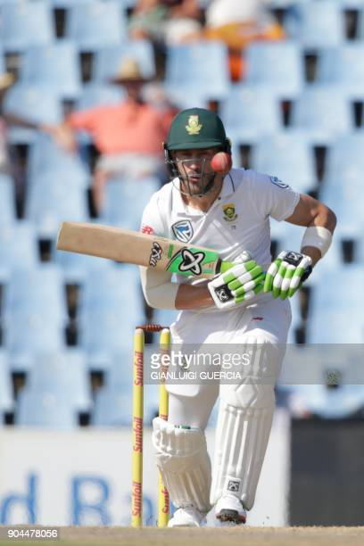 South African captain Faf du Plessis plays a shot during the first day of the second Test cricket match between South Africa and India at Supersport...