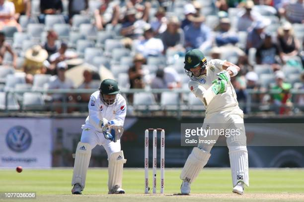 South African captain Faf du Plessis square cuts a delivery during day 2 of the 2nd Castle Lager Test match between South Africa and Pakistan at PPC...