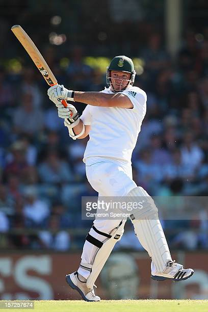 South African captain Graeme Smith bats during day two of the Third Test Match between Australia and South Africa at the WACA on December 1 2012 in...