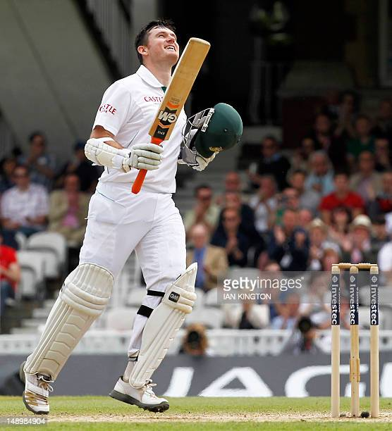 South African Captain Graeme Smith celebrates after reaching 100 runs not out during the third day of the first international Test cricket match...