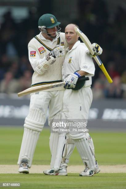South African captain Graeme Smith celebrates teamate Gary Kirsten's century against England during the second day of the second nPower Test at...