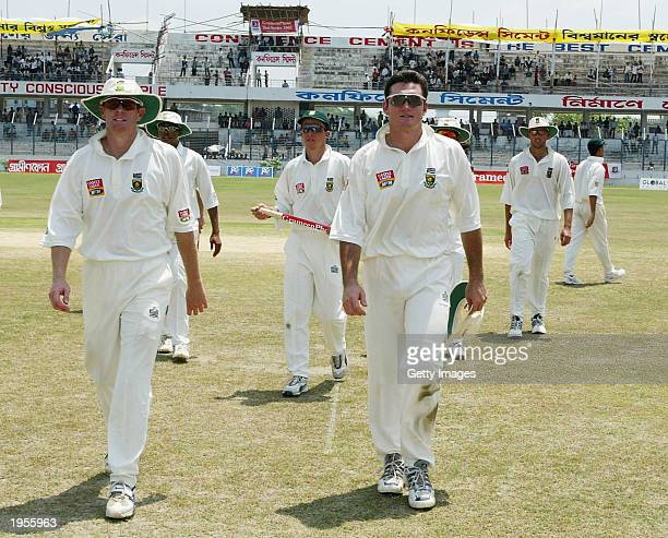 South African Captain Graeme Smith leading his men off after winning the 1st Test by an innings and 60 runs after the first test match between South...