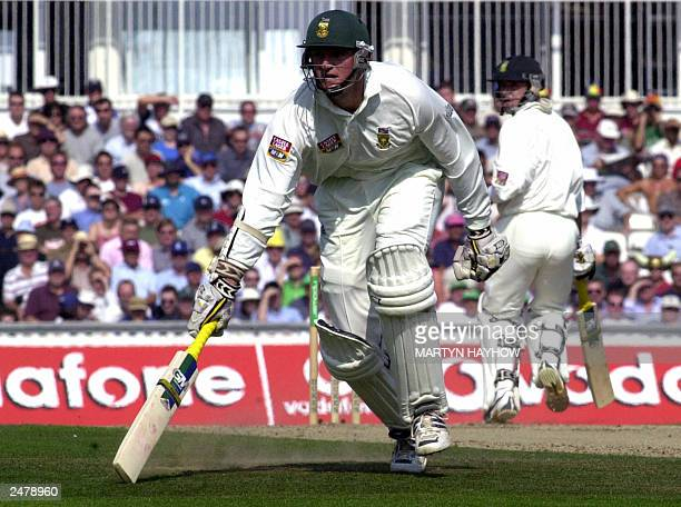 South African captain Graeme Smith makes it back to the crease after a quick single during the morning's play of the final Test Match between England...