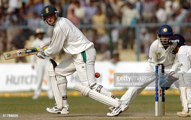 South African Captain Graeme Smith plays a stroke, during the fifth and final day of the first Test match between India and South Africa at the Green...