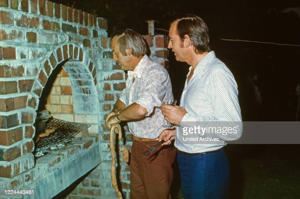 South African cardiac surgeon Christiaan Barnard and friends at a BBQ in Cape Town South Africa 1974