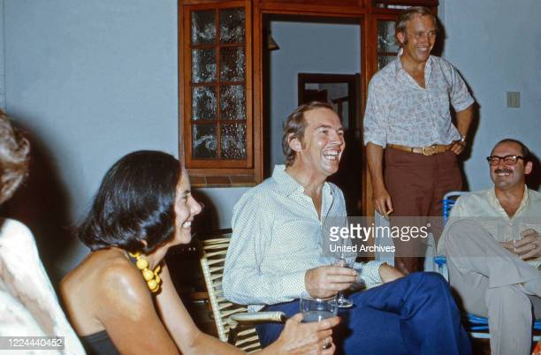 South African cardiac surgeon Christiaan Barnard and friends at a party in Cape Town South Africa 1974
