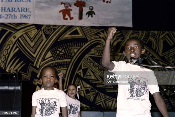 South African children attend the Children Under Apartheid conference on September 27 in Harare / AFP PHOTO / ALEXANDER JOE