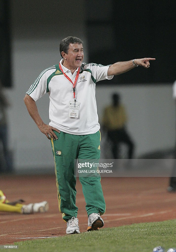 South African coach Brazilian born Carlos Alberto Parreira gestures, 23 January 2008, during the 2008 African Cup of Nations match between South Africa and Angola at Tamale Stadium in Tamale, Ghana.