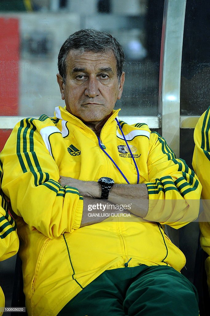 South African coach Carlos Alberto Parreira sits on the bench ahead of their international friendly football match against Bulgaria at the Orlando stadium in Soweto, Johannesburg. on May 24, 2010. The 2010 FIFA World Cup football championship is due to take place in South Africa from June 11 to July 11 of 2010.