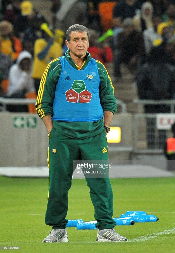 South African coach Carlos Parreira stands during a friendly football match between South Africa vs Colombia at Soccer City Stadium in Soweto on May 27 , 2010 ahaed of the FIFA 2010 World Cup in South Africa.