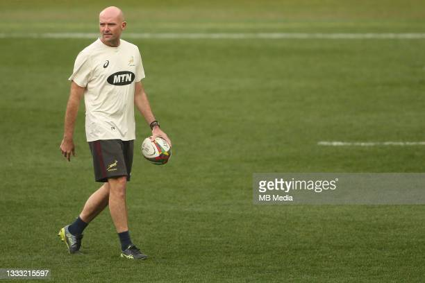 South African coach Jacques Nienaber before the 3rd Test between South Africa and the British & Irish Lions at FNB Stadium on August 7, 2021 in...