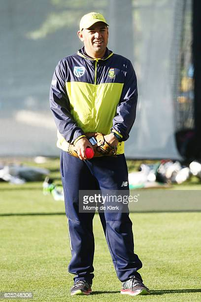 South African coach Russell Domingo looks on during a South Africa training session at Adelaide Oval on November 23 2016 in Adelaide Australia