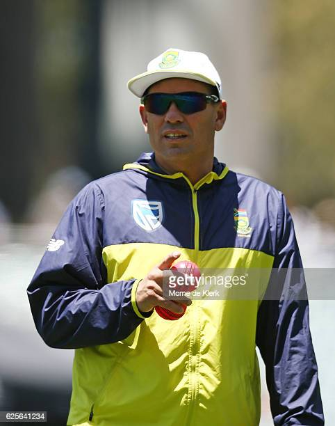 South African coach Russell Domingo looks on during day two of the Third Test match between Australia and South Africa at Adelaide Oval on November...