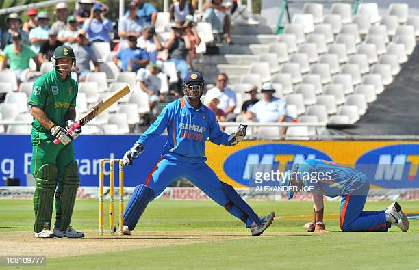 South African Colin Ingram plays a stroke off the ball of Indian Harbhajan Singh during during the 3rd One Day International between India and South...