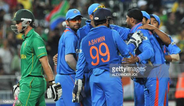 South African Colin Ingram walks back after going out LBW bowled by Indian bowler Harbhajan Singh on January 15 2011 during the second oneday...